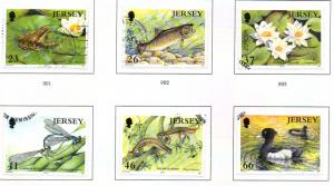 Jersey  Sc 989-94 2001 Europa Pond Life stamp set used