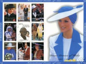 Turkmenistan 1997  Diana/Gandhi/M.Teresa/Pope John-Paul II Sheetlet (9) MNH VF