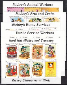 Guyana issue. Disney`s Arts & Crafts of 5 sheets. ^