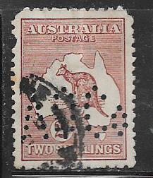 Australia #53 ,2sh violet brown -perfin- (U)  CV$37.50
