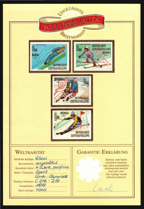 1980 LAKE PLACID Winter olympics Central Africa  imperforated MNH hockey skiing