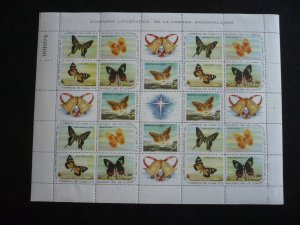Stamps - Cuba - Scott# 696-700 Mint Hinged Sheet of 20 Stamps plus 5 Labels
