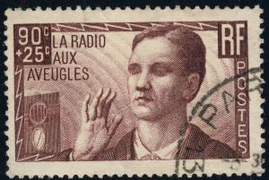 FRANCE - 1938 - Yv.418 / Mi.436 90c+25c la radio aux aveugles - Oblitéré TB