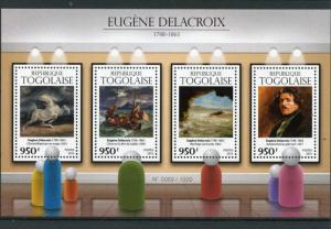 Togo 2015 MNH Eugene Delacroix 4v M/S Art Paintings Horse Frightened Storm