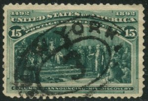 US Sc#238 1893 15c Columbian F-VF Appearance Used with Back Crease