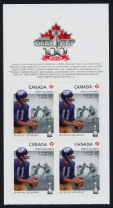 Canada 2573a Top Booklet pane MNH CFL, Winnipeg Blue Bombers, Football, Sports