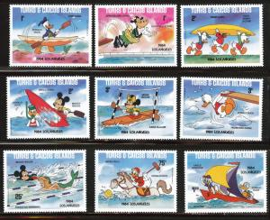 Turks & Caicos Scott 619-628 MNH**1984 LA Donald duck set
