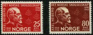 Norway SC# 292-3 Axel Heiberg, Forestry founder set MH