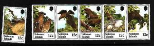 Solomon Is.-Sc#465-70-unused NH Bird strip of 5 plus single
