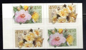 Norway Scott 1272-1273a MNH** 2001 self adhesive Flower booklet pane