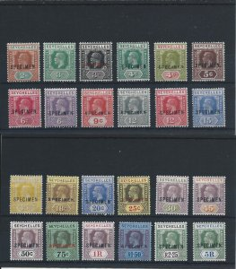 SEYCHELLES 1921-32 DIE 2 SET OF TWENTY-FOUR OVERPRINTED SPECIMEN MM SG 98s/123s