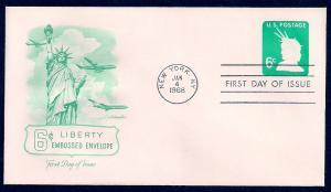 UNITED STATES FDC 6¢ Liberty Envelope 1968 Artmaster