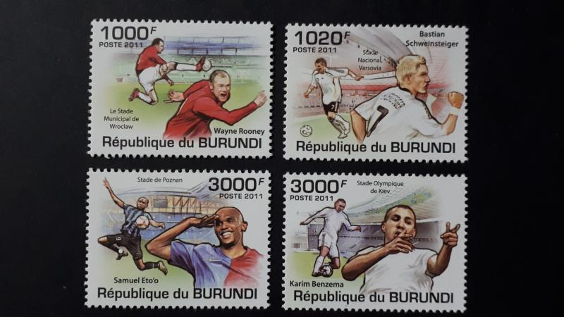 Burundi 2011. -  Football players ** MNH complete set (perforated)