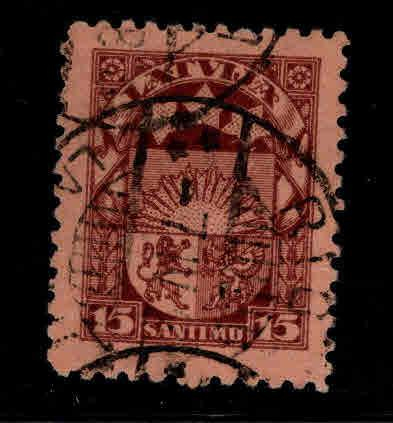 Latvia Scott 120 Used coat of arms stamp