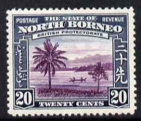 North Borneo 1939 River Scene 20c (from def set) lightly ...