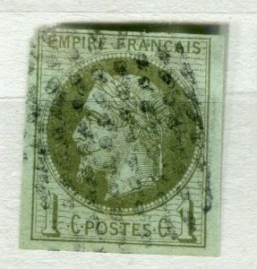 FRENCH COLONIES; 1870s classic Napoleon Imperf issue used 1c. value (thin)