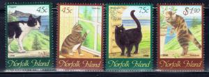 Norfolk Is 438-41 MNH 1998 Paintings of Cats