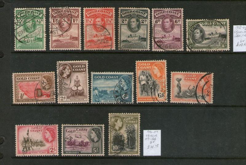 Gold Coast 1938-1954 KGVI and CEII selected  FU