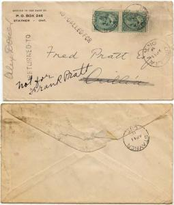 Canada - 1911 Stayner to Orillia NOT CALLED FOR Cover