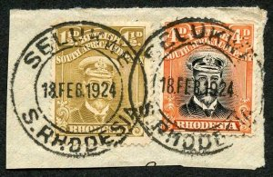 Rhodesia Admiral 1 1/2d and 4d used on piece
