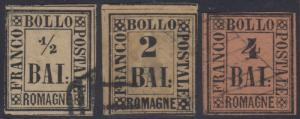 ITALY ROMAGNA 1859 Sc 1, 3 & 5 FORGERIES MUTE CANCELS (CV$735)