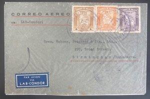 1936 Contros Bolivia Airmail Cover To Birmingham England Via Condor