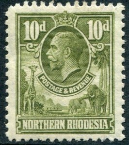 NORTHERN RHODESIA-1925-29 10d Olive-Green Sg 9 MOUNTED MINT V48310