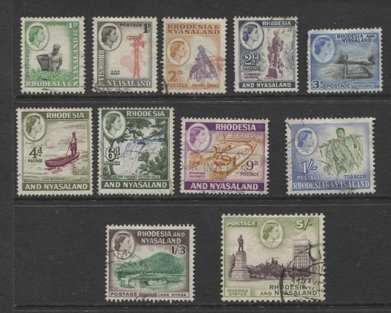 Rhodesia & Nyasaland -Scott 158-66+169 -1959 - FU - Short Set of 11 Stamps