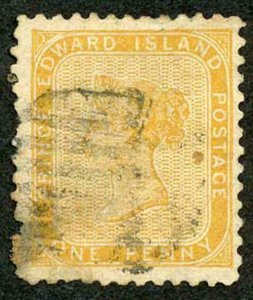 Prince Edward Is  SG9 1863 1d Yellow Orange Used Cat 70 pounds