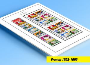 COLOR PRINTED FRANCE 1993-1999 STAMP ALBUM PAGES (53 illustrated pages)