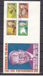 Zambia, Scott cat. 70-73. United Nations General issue. First day cover. ^