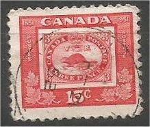 """CANADA, 1951, used 15c, """"Threepenny Beaver"""", Scott 314"""