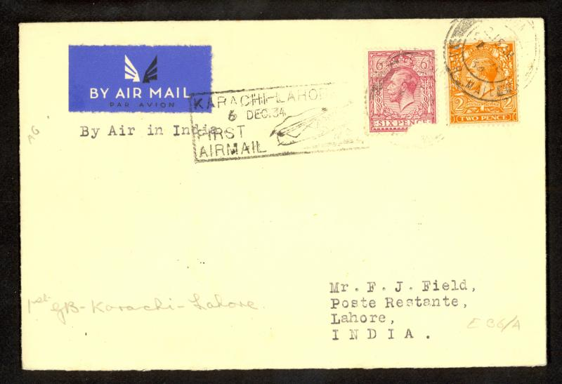 GREAT BRITAIN 1934 INDIA FIRST FLIGHT Cover Connecting to KARACHI LAHORE Flight