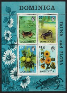 Dominica Crabs Bread Fruit Sunflower Flora and Fauna MS SG#MS393