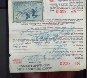 IDAHO DUCK STAMP RW22 (used) On 1955 Hunting/ Fishing License  - 11