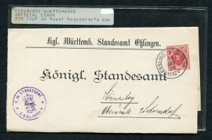 Germany German State Wurttemberg 1897 Official cover  Very Fresh