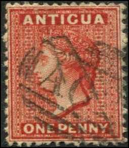 Antigua SC# 5 SG# 13 Victoria 1d wmk 1 perf 12-1/2 Used