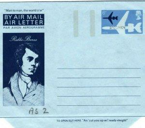 GB SCOTLAND Robert Burns 6p Air Letter *SPECIMEN* 1975 {samwells-covers}MA403