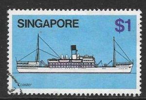 SINGAPORE SG373 1980 $1 SHIPS FINE USED