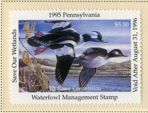 US PA13 PENN STATE DUCK STAMP 1995 MNH SCV $9.00 BIN $5.50