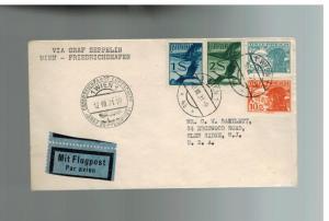 1931 Vienna Austria Graf Zeppelin postcard cover Austria Flight to USA