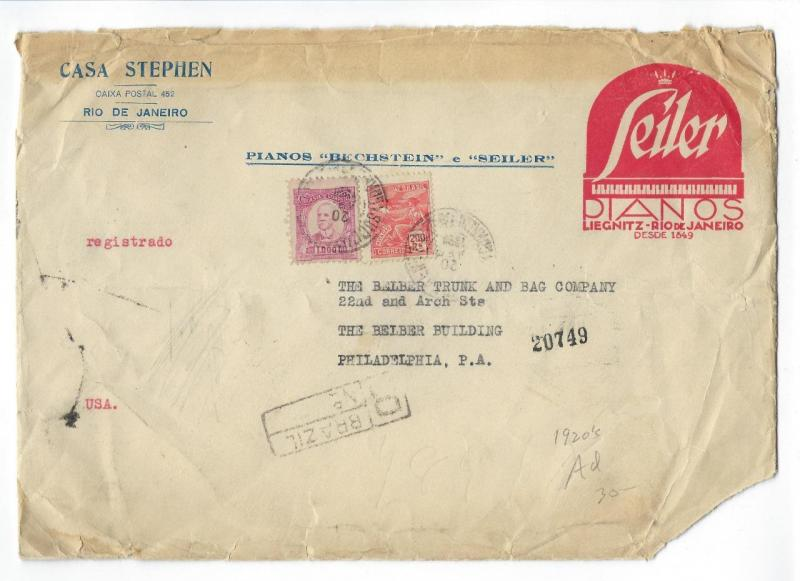 1926 Brazil To USA Oversize Registered Advertisement Cover - (TT31)