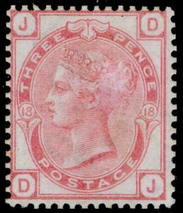 SG144, 3d pale rose plate 18, M MINT. Cat £525. DJ