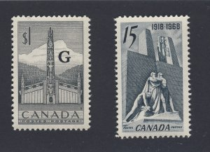 2x Canada MNH VF stamps #O32-$1.00 Totem OHMS & #486-15c Guide Value = $21.00