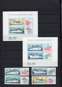 POLAND 1986 SHIPS SET OF 4 STAMPS & 2 S/S MNH