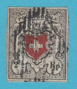 SWITZERLAND 2 -1850 GENUINE STAMP WITH REPAIRS & CERTIFICATE