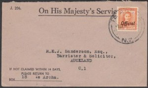 NEW ZEALAND 1950 OHMS cover with GVI 2d Official ex Te Aroha................N684