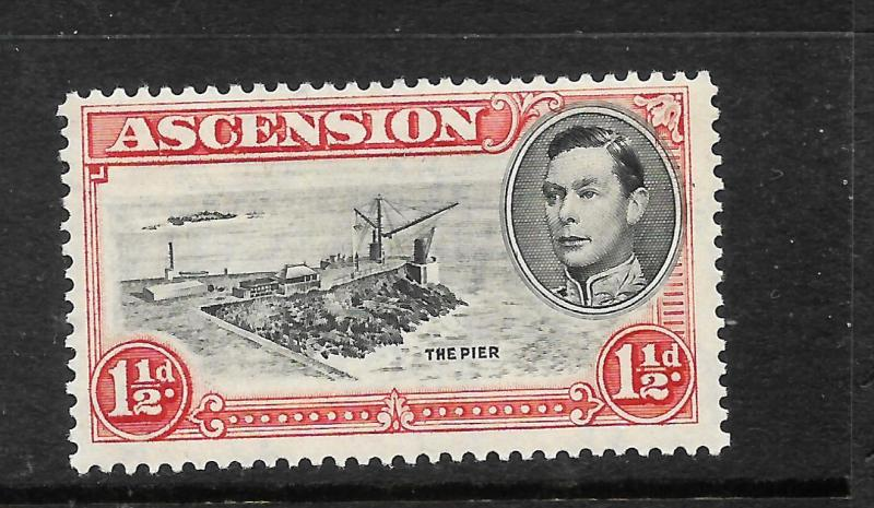 ASCENSION ISLAND  1938-53  1 1/2d   KGVI  PICTORIAL  MLH    SG 40