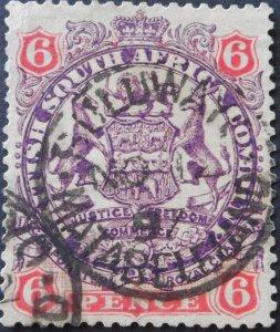 Rhodesia 1896 6d with Buluwayo Matabeleland postmark