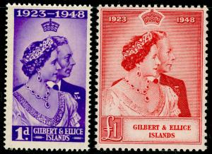 GILBERT AND ELLICE ISLANDS SG57-58, COMPLETE SET, NH MINT. Cat £16. RSW.